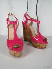 CHRISTIAN LOUBOUTIN 36.5 6.5 Hot Pink Patent Leather Peep Toe T-Strap Wedges EUC