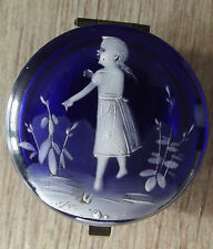 ancienne boite à pilule / bijou bleu cobalt à decors mary grégory