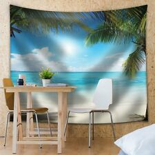Palm Trees in an Island Framing the Ocean on a Sunny Day - Fabric Tapestry-68x80