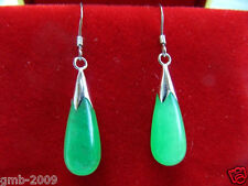 New Pair Green Jade 925 Sterling Silver Hook Teardrop Dangle Earrings