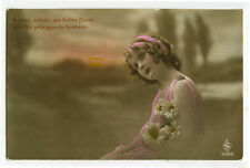 c 1920 Children Kids FRENCH MAKE UP GIRL tinted photo postcard