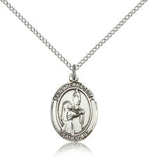 "Saint Bernadette Medal For Women - .925 Sterling Silver Necklace On 18"" Chain..."