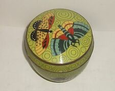 LARGE FABIENNE JOUVIN PARIS CLOISONNE GREEN ENAMEL BUTTERFLY JAR BOX