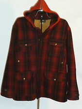 VINTAGE PLAID WOOLRICH WOOL HUNTING JACKET/COAT WITH HOOD! BRASS SNAPS! USA! 42