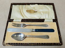 VINTAGE CHILD'S SILVER PLATED KNIFE FORK & SPOON SET IN ORIGINAL BOX