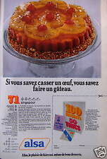 PUBLICITÉ 1974 ALSA SI VOUS SAVEZ CASSER UN OEUF - ADVERTISING