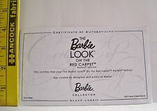 MATTEL BARBIE DOLL ON THE RED CARPET CERTIFICATE OF AUTHENTICITY COA ONLY