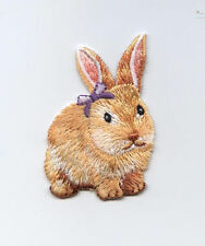 Iron-On Applique Embroidered Patch Brown Easter Bunny Rabbit Purple Bow