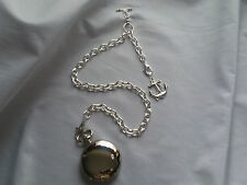 NEW HAND-MADE SILVER PLATED POCKET WATCH CHAIN: SINGLE ALBERT CROSS LINK