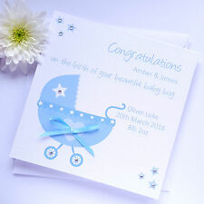 Handmade Personalised New Baby Boy Blue Card - Pram