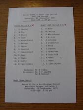 14/09/1991 Aston Villa Reserves v Sheffield United Reserves  (Single Sheet, Scor