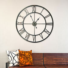 Large Metal Iron Roman Number Wall Clocks Vintage Home Decoration 76cm Diameter