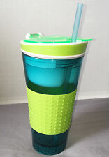 NEW SNACK EASY ALL IN ONE BOX AND DRINK CUP WITH STRAW GREEN & BLUE PMS