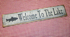 """Rustic Primitive Sign/ Shelf sitter """"Welcome to The Lake"""" Country Home Decor"""