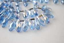 Bulk 15Pcs Blue AB Glass Crystal Faceted Teardrop Pendant 8x16mm Spacer Findings