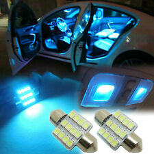 "2pcs Aqua Blue 12SMD 1.25"" 31mm LED Bulbs Car Interior lights CD6J"