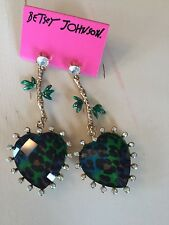 Betsey Johnson ladies heart with animal print dangle earrings NWT