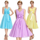 4 Colors V-Neck Chiffon Ball Evening Prom Party Dress Plus Size Cocktail Short