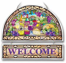"""AMIA STAINED GLASS SUNCATCHER 12"""" X 11"""" WINE VINTAGES WELCOME SIGN #9411"""