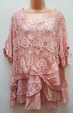 New Italian Lagenlook Peach Lace Sequin Mesh Top Tunic 16 18 20 22 24
