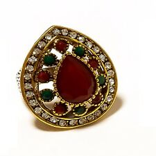 925 Overlay Red Ruby & Green Emerald Designer Turkish Style Pear Shape Ring