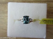 London Blue Topaz & Tanzanite Ring Platinum Overlay Sterling Silver Sz 8, 9 Opt
