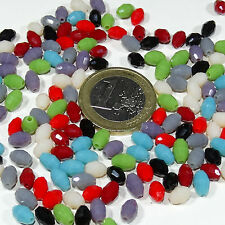 80 Cristales Variados 6x4mm  T552A  Colores Alabastro  Crystal Beads Perline