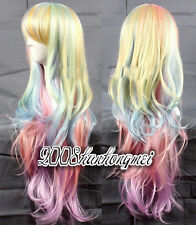 Multi-Color Mixed Rainbow Lolita Big Wavy Curly Long Anime Cosplay WIG