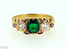 Exceptional Colombian Emerald Antique Victorian 3 Stone Ring in 18K Gold