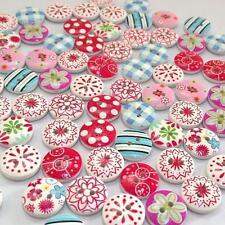 80 Mixte Boutons en Bois Fleur Floral 2 Trous Couture Mercerie Scrapbooking Lot