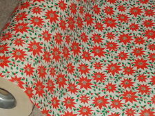 VTG CHRISTMAS WRAPPING PAPER GIFT WRAP 2 YARDS CLASSIC HOLIDAY POINSETTIA 1950