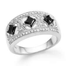 1/3 Carat Enhanced Black & Natural Diamond Princess Ring in Sterling Silver