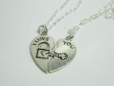 I Love You Couples/Best Friends Heart  Silver Pendant Necklace.Kitsch.Funky