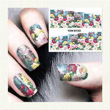1 Sheet Nail Art Water Transfer Decal Manicure Sticker Multicolor Flower YZW8103