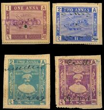 INDIA Fiscal used stamps-Gondal State-4 Different-Revenue Stamps, one & two Anna