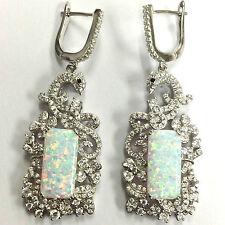 GRANDE Stile Art Deco Bianco Gilson Opal pavone Orecchini 925 Argento Sterling