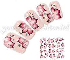 NAIL ART WATER TRANSFERS STICKERS DECALS RED FLOWERS BUDS STYLE (D01)
