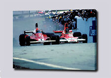 "JAMES HUNT NIKI LAUDA RUSH CANVAS 30""x20"" PRINT POSTER PHOTO PIC F1 WALL ART"