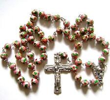 * PINK CLOISONNE ROSE BEADS ROSARY & CROSS crucifix catholic necklace