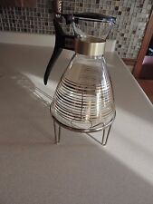 VTG Pyrex Glass Coffee or Tea Carafe / Gold Stripes & Candle Stand