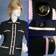 ST JOHN COLLECTION  KNIT BLACK JACKET WITH PINK ACCENT SZ 2 4 PETITE