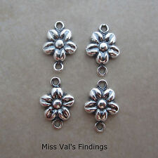 4 sterling silver puffy flower link connector 10mm