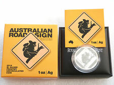 2014 Australia Koala Road Sign $1 One Dollar Silver 1oz Coin Box Coa