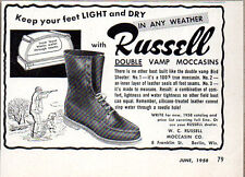 1958 Vintage Ad Russell Double Vamp Moccasins Hunting Boots Berlin,WI