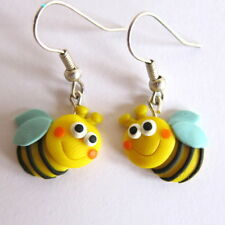 Polymer Clay Girls Children Bee Bug Dangle Spring Easter Earrings Jewelry Gifts
