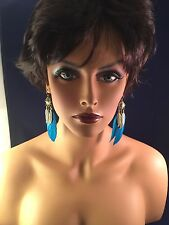 ANIQUE FINISH DANGLE EARRINGS WITH FEATHER GOLD TONE RHINESTONES SOUTHWEST LOOK