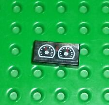 LEGO DECORATED - Tile 1x2 w/ Two White Gauges Pattern x 1 (3069bpb026) I85