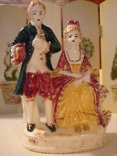 "VINTAGE 6 1/4"" VICTORIAN COLONIAL COUPLE FIGURINE MAN WOMAN FORMAL DRESS"