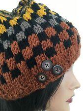 Hand Knits 2 Love Beanie Hat Designer Fashion Checkered Hip Chic Winter