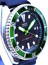 Vintage mens SEIKO diver 7002 mod w/GREEN Plongeur hands & Bezel -Neon Green SS!